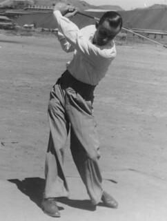 Mr O. Stanley playing golf, September 1948