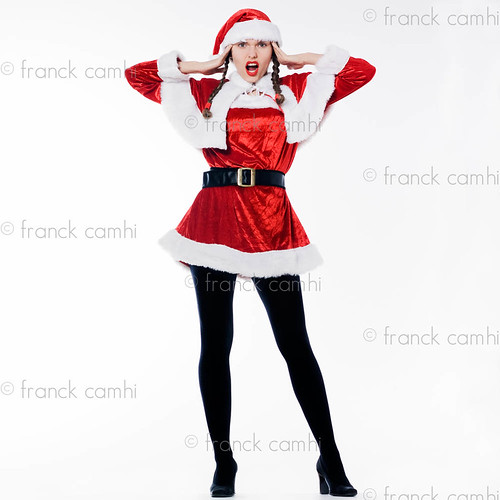 funny expressive santa claus woman