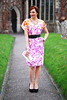 Floral dress & statement necklace (great wedding guest outfit)