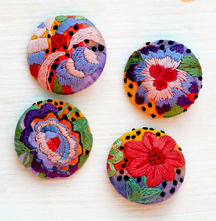 Finished Embroidered buttons