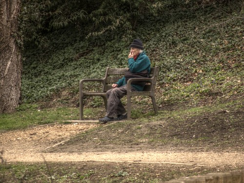 Man on bench HDR