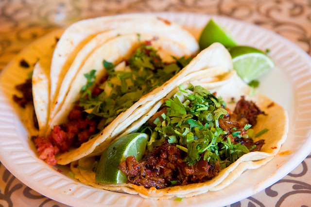 Goat, chorizo, and carne enchilada tacos, Taqueria Cocoyoc