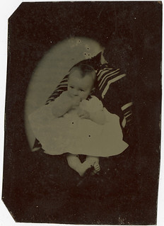 Vignetted Tintype - Barefoot Baby, Sucking Thumb - Hidden Mother