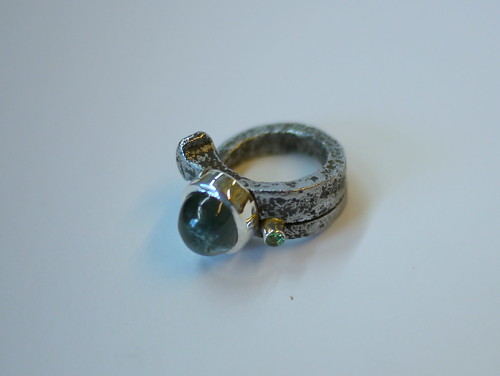 Roofing Nail Ring With Aquamarine - 5