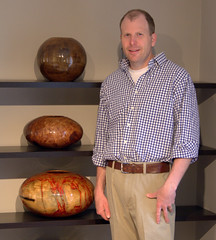 Third generation wood turner Matt Moulthrop, seen here with his work, in his Atlanta home and studio.
