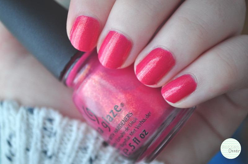 notd china glaze strawberry fields nail polish pink gold shimmer rottenotter rotten otter blog 3