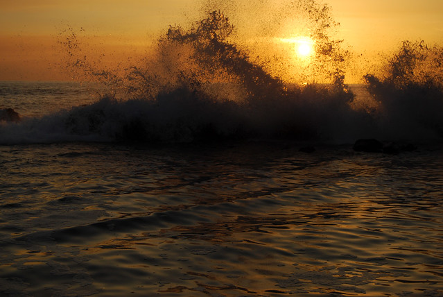 Sunset through the Crashing Waves