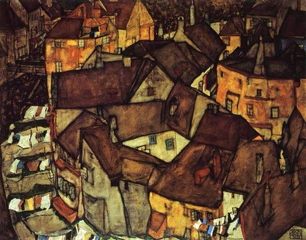 """Krumau Town crescent I"" (1915) oil on canvas. by Egon Schiele"