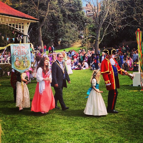 The May Queen (in pink) with the mayor, the town cryer, and attendants