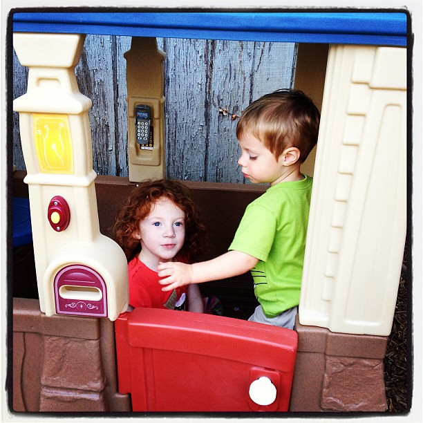 Enjoying their new playhouse!  #outside