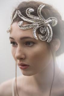 silver sequin bridal headpiece