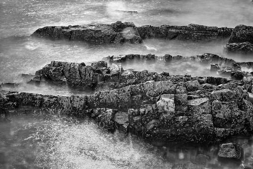 [フリー画像素材] 自然風景, 海, ビーチ・海岸, モノクロ ID:201304022000