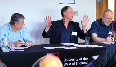 Left to right: Dafydd Moore (University of Plymouth), Robin Jarvis (UWE) and Kevin Grieves (Bath Spa University) discuss the importance of place in West Country literature.