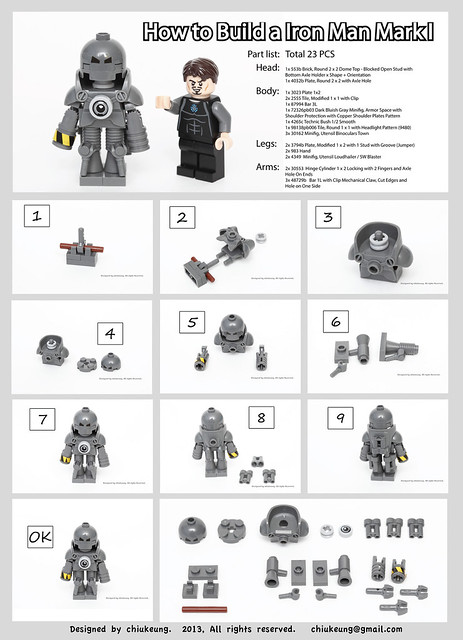 How to build a LEGO IronMan MarkI? Here is the instruction.  try it out :D