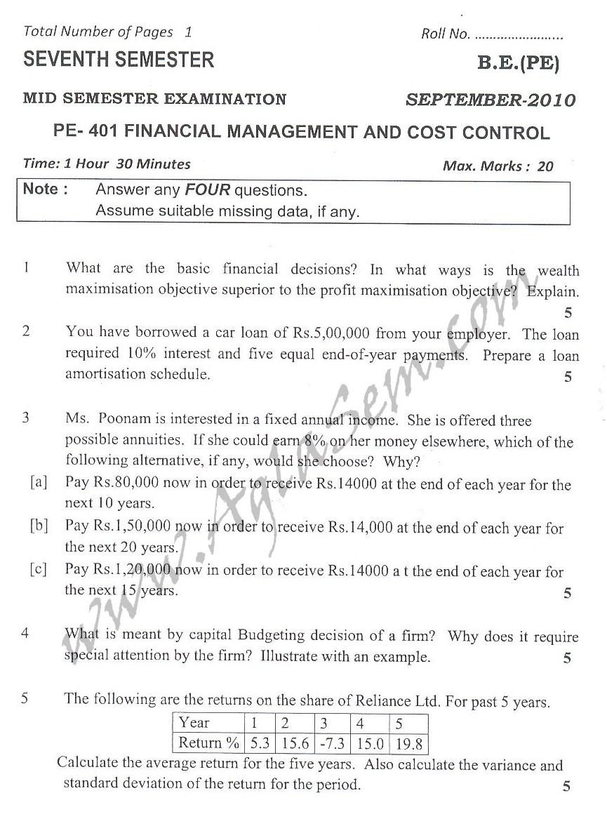 DTU Question Papers 2010 – 7 Semester - Mid Sem -  PE-401
