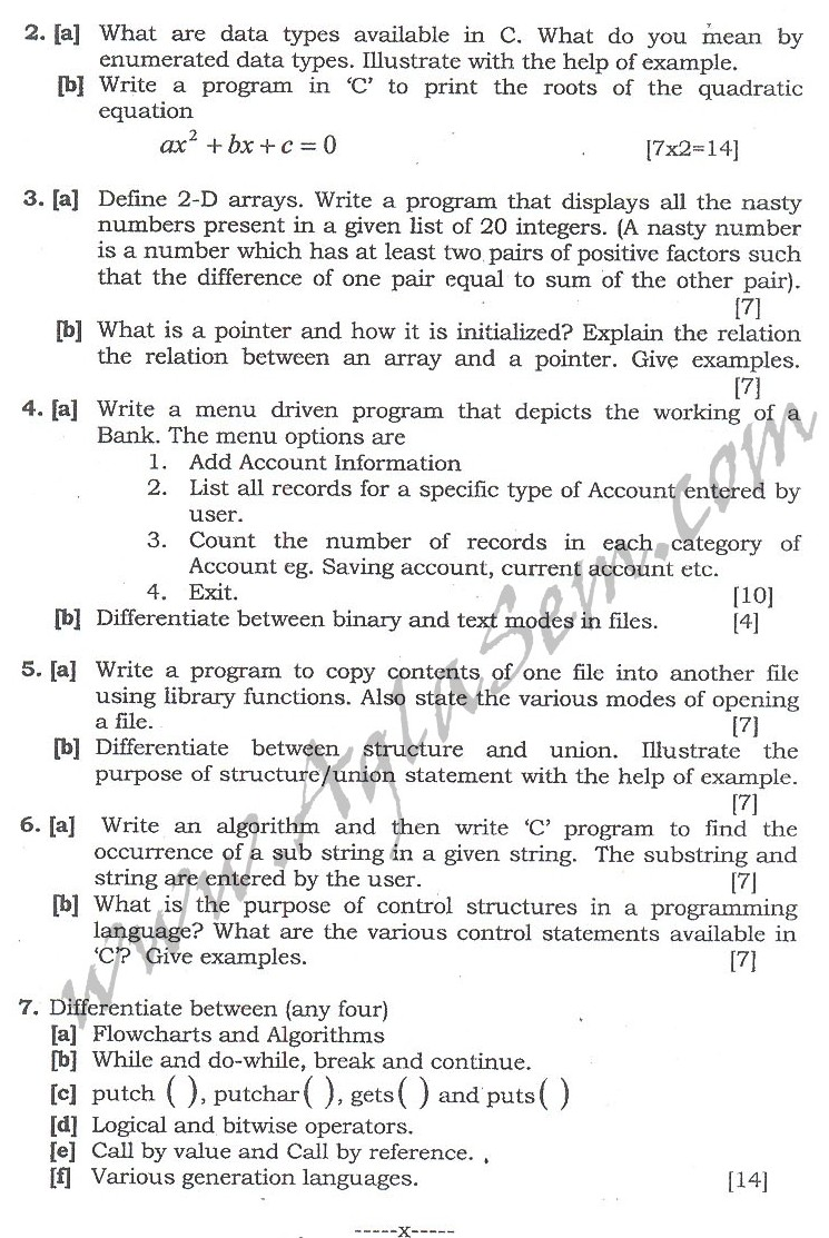 DTU Question Papers 2010 – 2 Semester - End Sem - COE-114