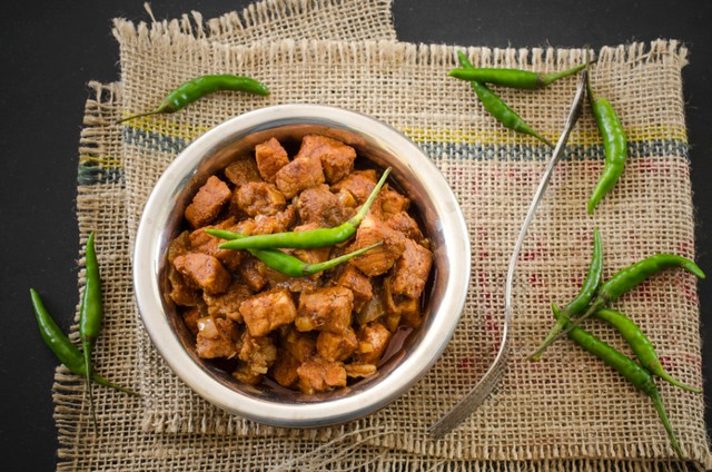 Dukra Maas or Bafat Pork - Mangalorean Pork Curry with Bafat Spice Mix