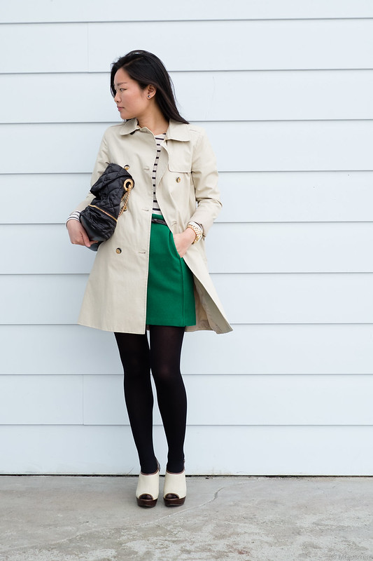 Zara trench and stripes skirt and Joe Fresh green skirt