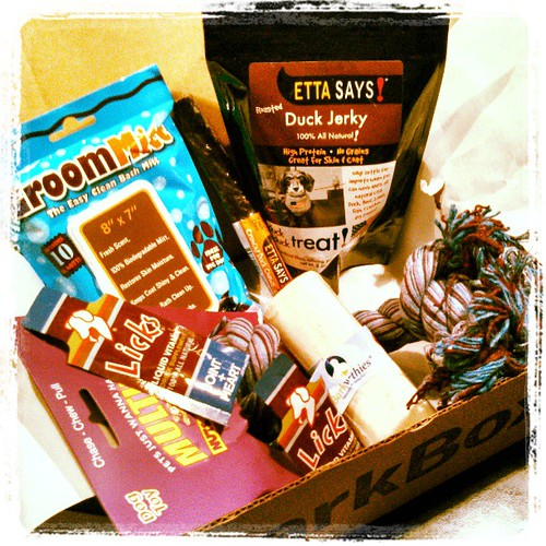 Our April #BarkBox arrived today and it's a great one! #dogs #dogtreats #dogtoys