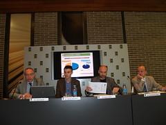 D'esquerra a dreta: Joan Sabaté, director general de FUNDACC, Jeroni Boixareu, vicepresident del Gremi de Llibreters de Catalunya, Marià Marín, secretari tècnic del Gremi de Llibreters de Catalunya, i Xavier Mallafré, president del Gremi d'Editors