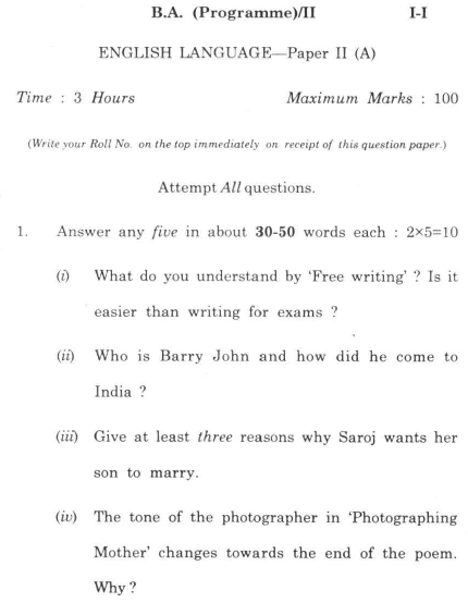 DU SOL B.A. Programme Question Paper -  English A -  Paper V