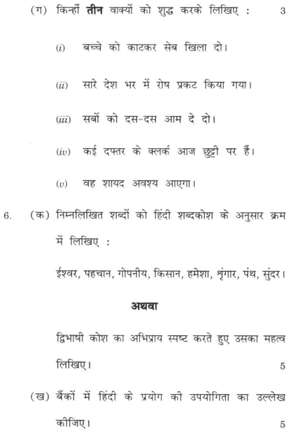 DU SOL B.Com. Programme Question Paper - Hindi B - Paper V