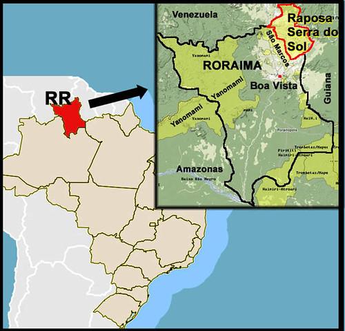 Resultado de imagem para mapa  Raposa Serra do Sol