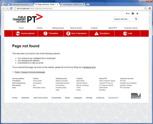 'Page not found' error for an old URL on the PTV website