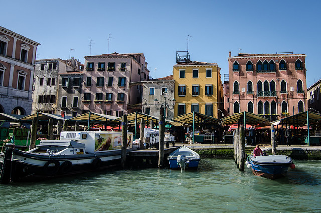 The Rialto Market sits right on the Grand Canal in Venice.