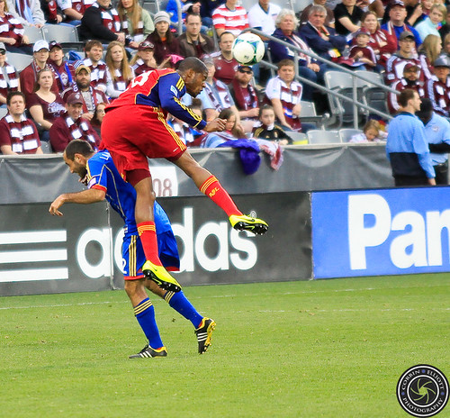 Nick LaBrocca (Rapids), Chris Schuler (RSL), Colorado Rapids vs Real Salt Lake Apr. 6th 2013 by Corbin Elliott Photography