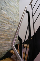 wood, handrail, stairs,