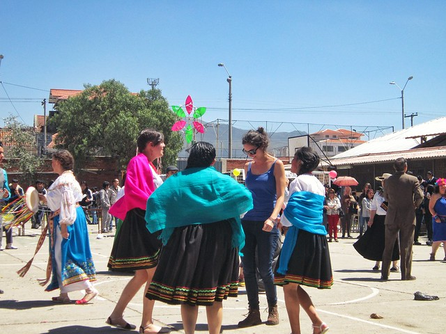 Flora dancing with students