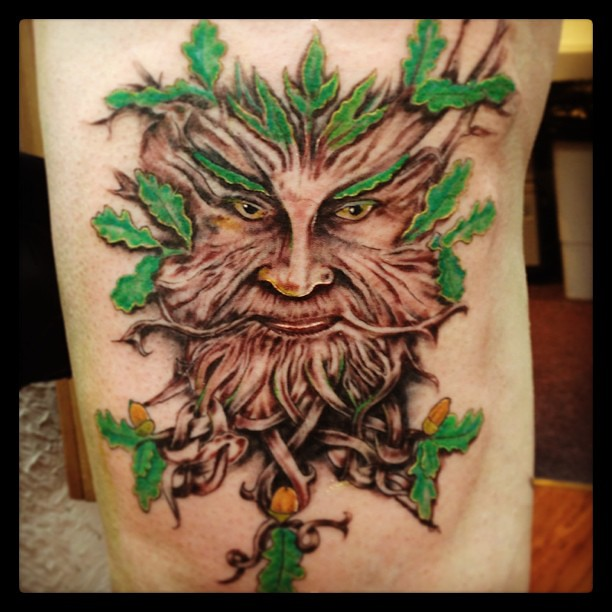 tattoomonty tattoo face tree wood leafs creepy tattooz fleet flickr photo sharing. Black Bedroom Furniture Sets. Home Design Ideas