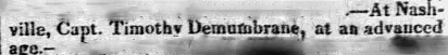 Timothy Demonbreun Death Announcement December 19, 1826 Spectator New York