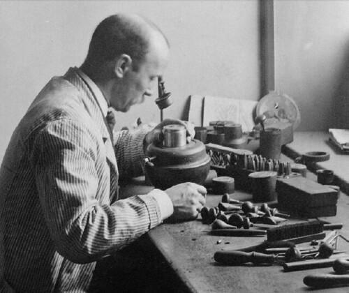Charles barber working on medal die
