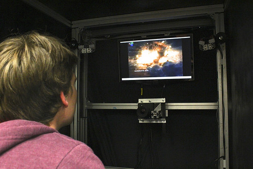 PhD student, Lawrence Broadbent, watching the video involved in the 4D image capture experiment