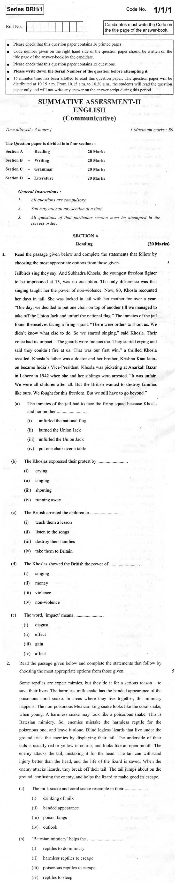 CBSE Class X Previous Year Question Papers 2012 English Communicative