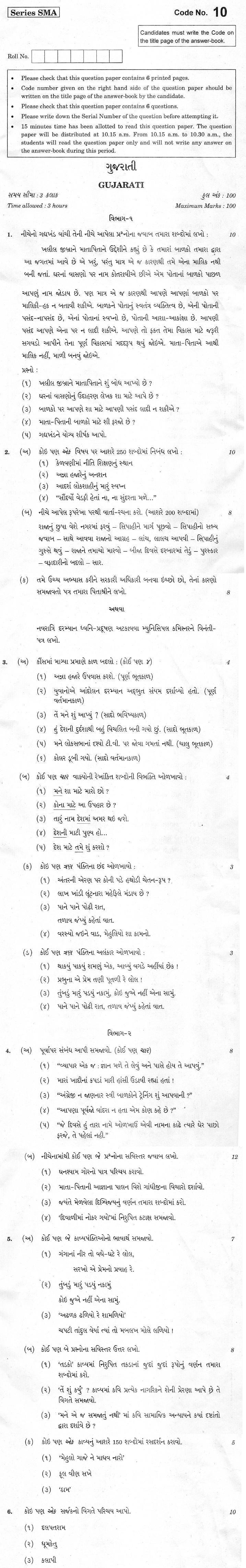 CBSE Class XII Previous Year Question Paper 2012 Gujarati
