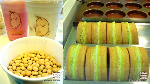 (Left) Watermelon Fresh Fruity Soya, Classic Milk Soya (cold), Soya Beans (Right) Mr. Bean Pancakes