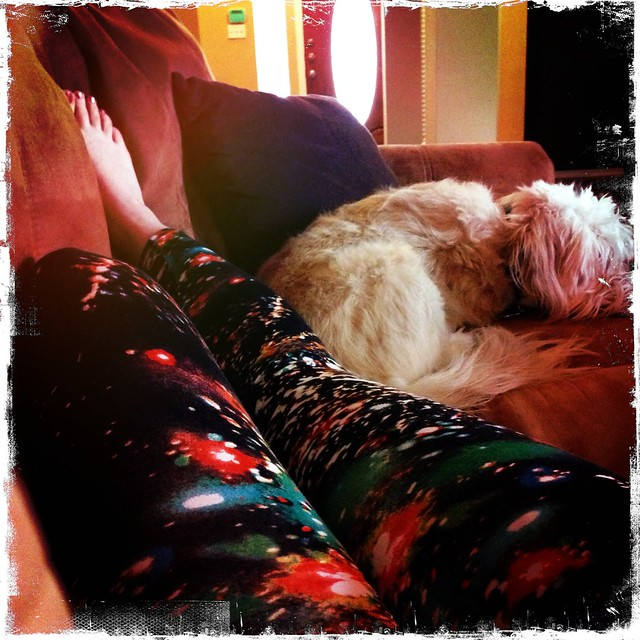 Ain't nothin' spandex and puppy snuggles can't soothe. #friday #doodles