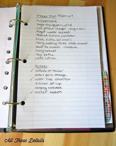 Camping Notes