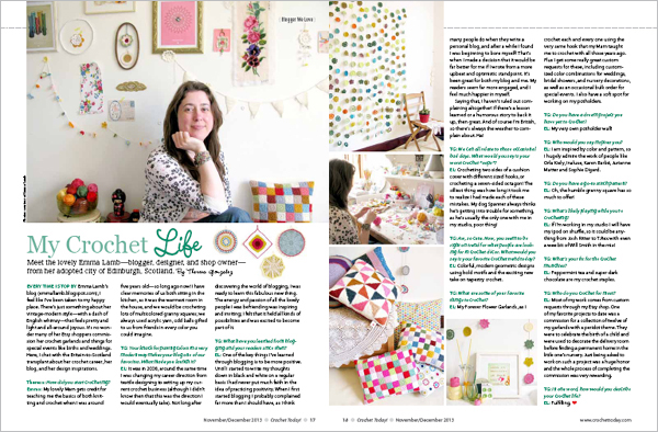 My two page interview in the November/December 2013 issue of Crochet Today | Emma Lamb