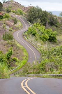 De weg naar Waimea Canyon