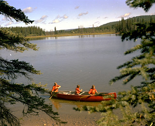 Junior Forest Wardens canoeing, Blue Lake, Alberta