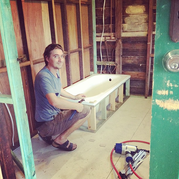 Dan just whipped up a tub frame. Word. #littlehouserebirth