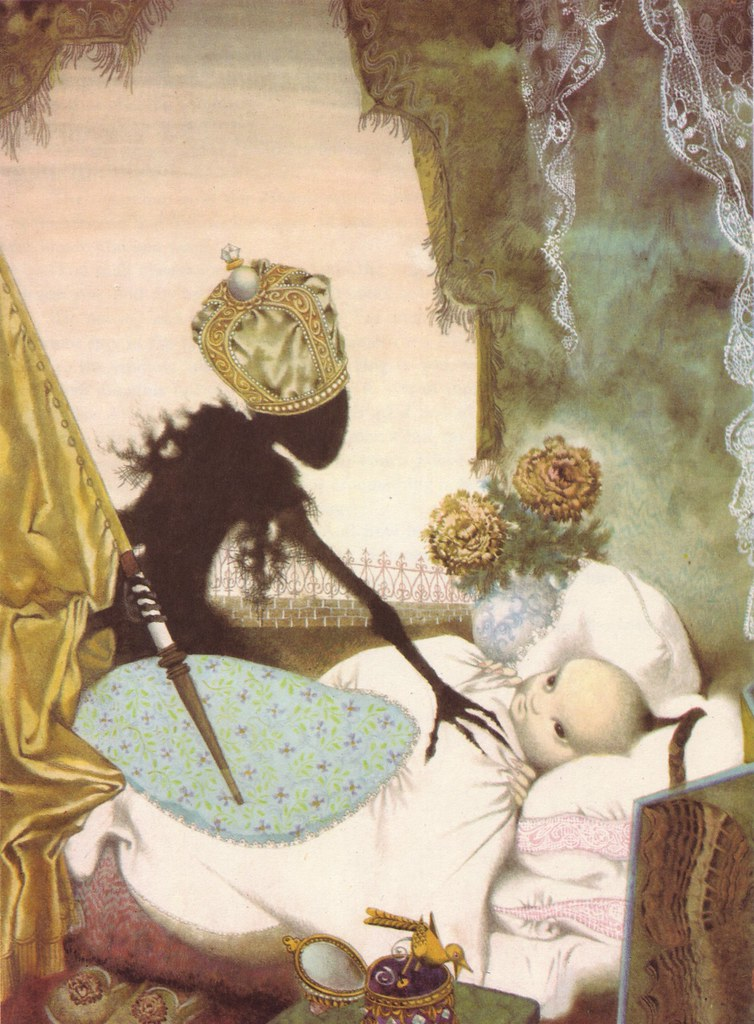 "Jiri Trnka - Illustration for Hans Christian Andersons Fairy Tales ""The Nightingale"" 1959"