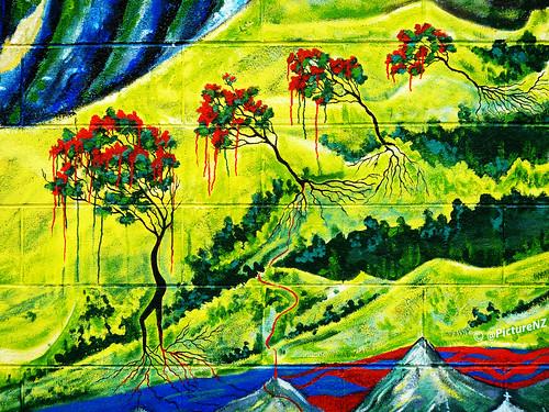 newzealand christchurch streetart tree landscape graffiti volcano blood mural brighton canterbury madness pollution nz southisland bleeding eruption larva globalwarming newbrighton