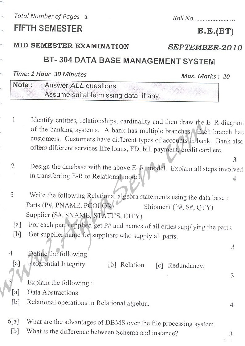 DTU Question Papers 2010 – 5 Semester - Mid Sem - BT-304