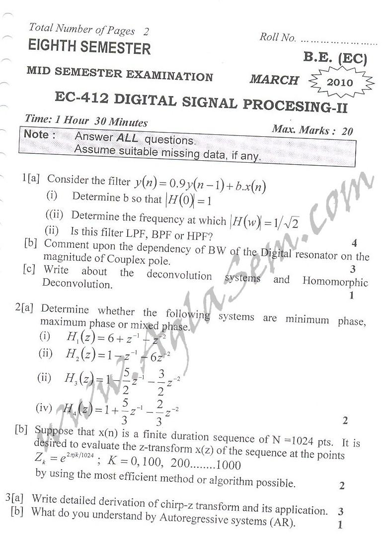DTU Question Papers 2010 – 8 Semester - Mid Sem - EC-412