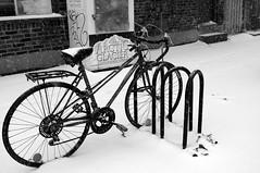 Un vélo dans la neige d'avril
